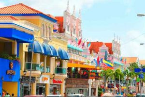 Aruba - colorful downtown buildings